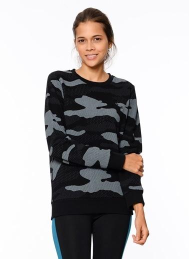 Hummel Desenli Sweatshirt Siyah
